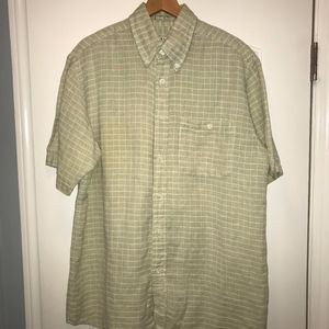 Orvis Casual Button Down Green and White